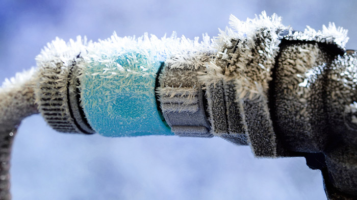 Illustration of frozen water pipe